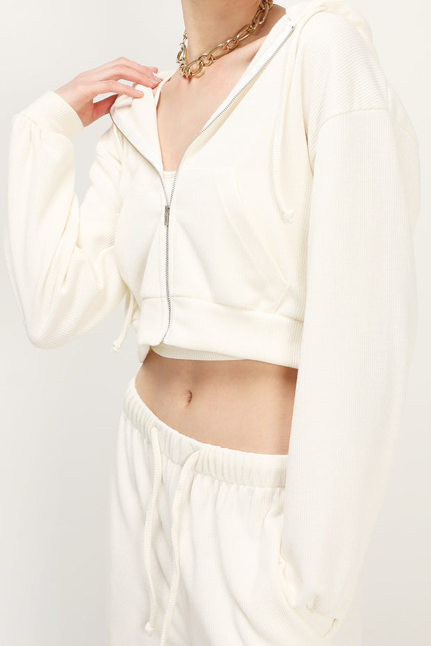 storets.com Kelly Ribbed Crop Hoodie Jacket