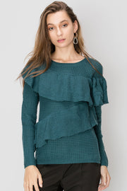 storets.com Dora Ruffled Netty Sweater
