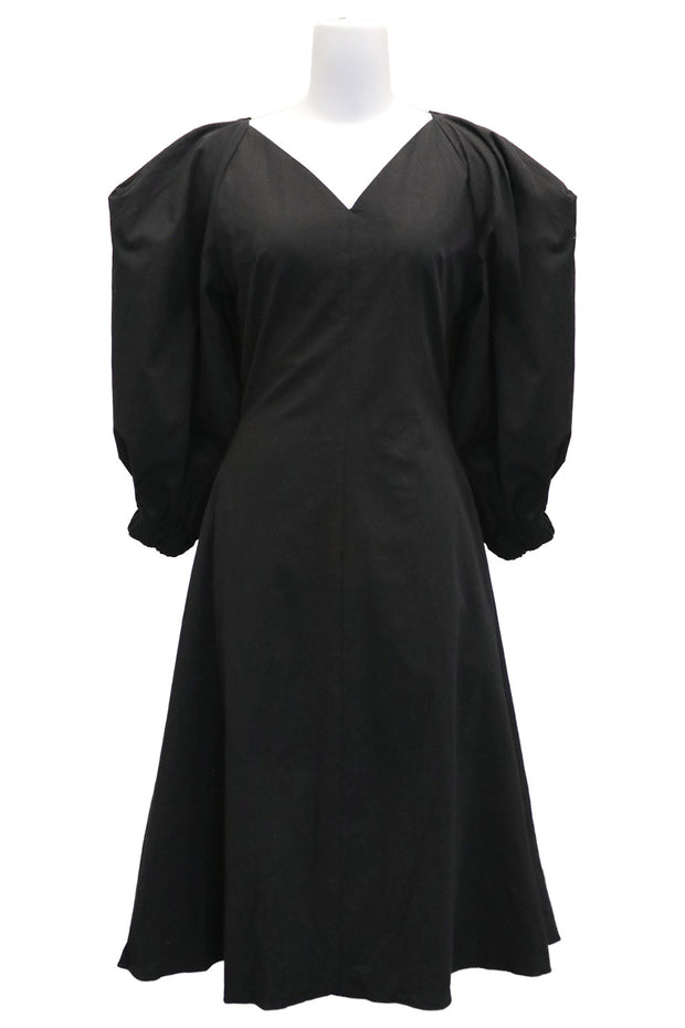 storets.com Olive Ballooned Puff Sleeve Dress
