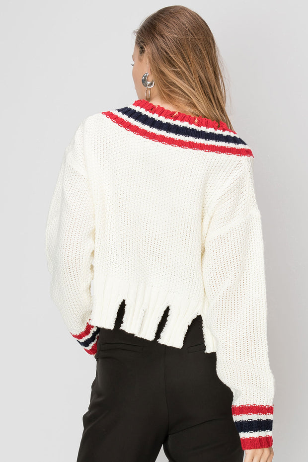 Georgina Tattered Stripe Sweater-2 Colors