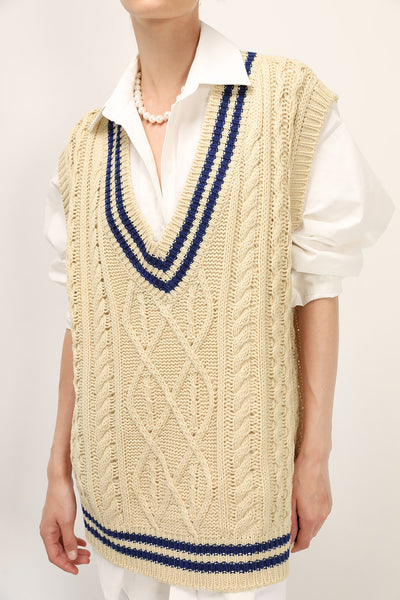 Ellie Oversized Cable Knit Vest
