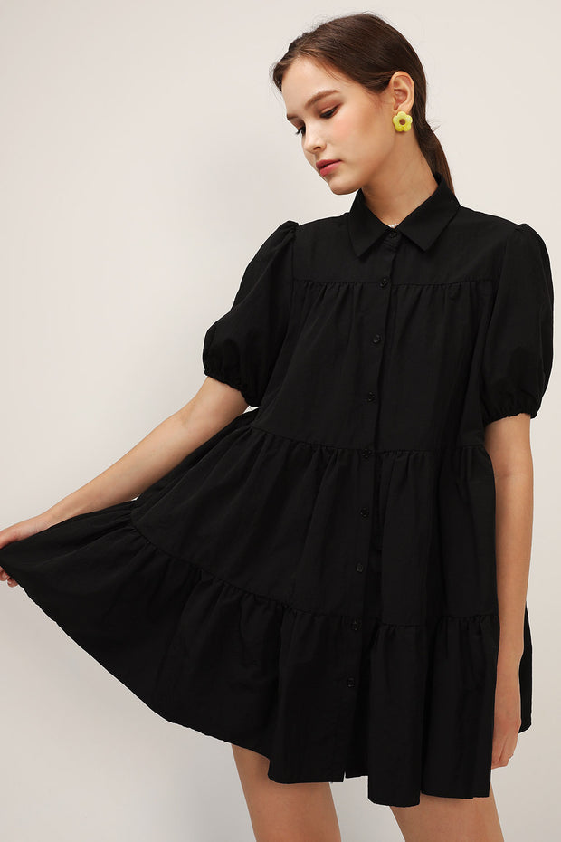 storets.com Esther Puff Sleeve Tiered Dress