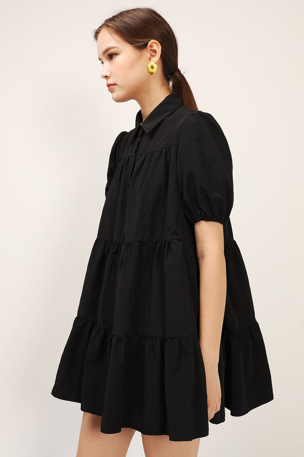 Esther Puff Sleeve Tiered Dress