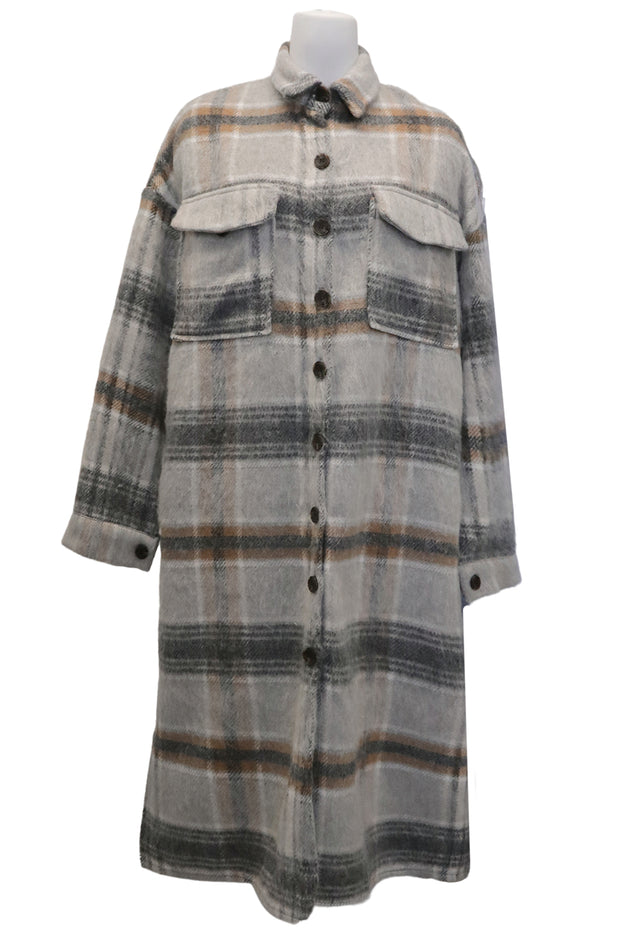 storets.com Adelynn Fuzzy Plaid Maxi Shacket