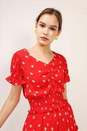 storets.com Kelly Daisy Printed Smocked Top