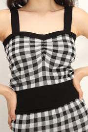 Dana Gingham Knitted Top