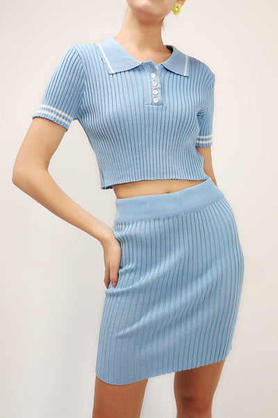 Adriana Ribbed Top And Skirt Set