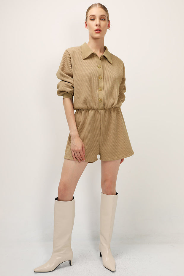 storets.com Willow Ribbed Buttoned Romper