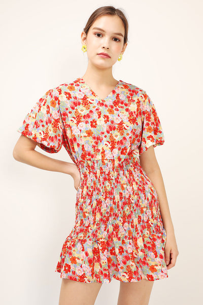 Lea Floral Print Puffed Dress
