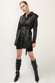 storets.com Maya Pleather Hoodie Mini Dress