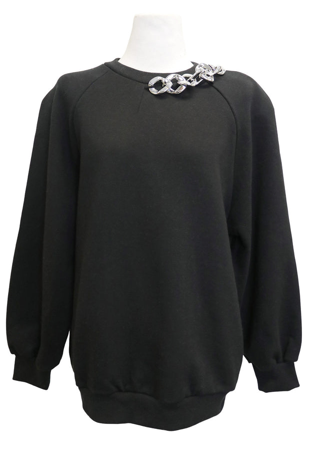 storets.com Kimberly Chain Necklace Detail Sweatshirt