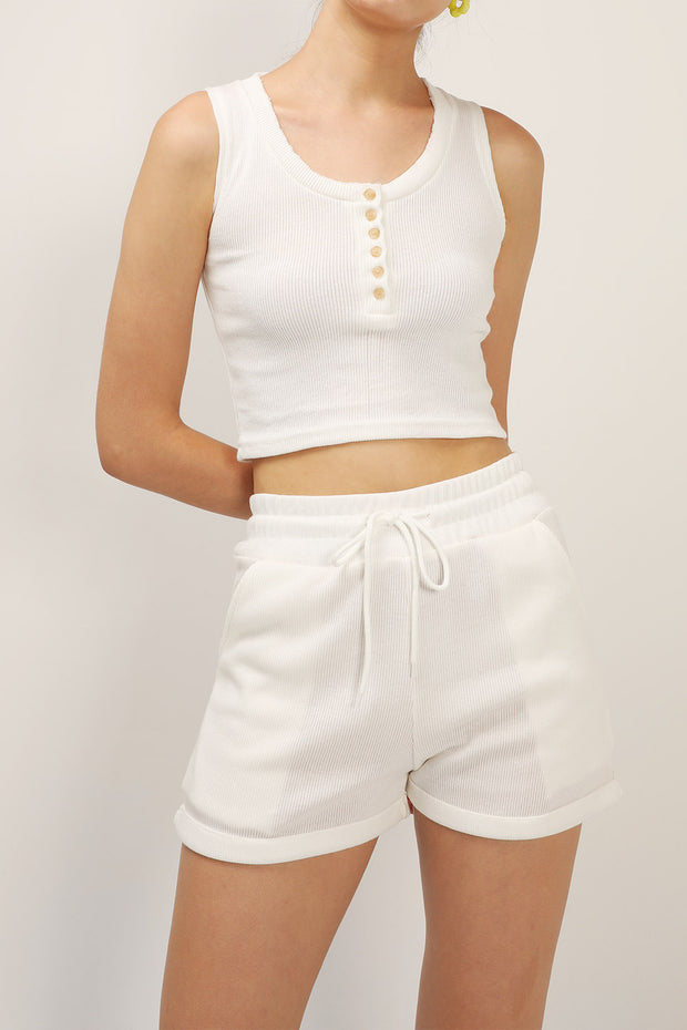 Jessie Ribbed Sleeveless And Shorts Set