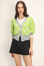 storets.com Kathleen Floral Puffed Cardigan