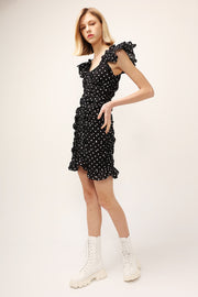 Amelia Polka Dot Ruched Dress