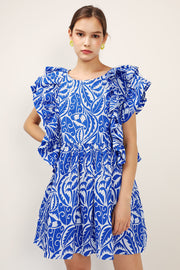 Elaina Printed Ruffle Dress