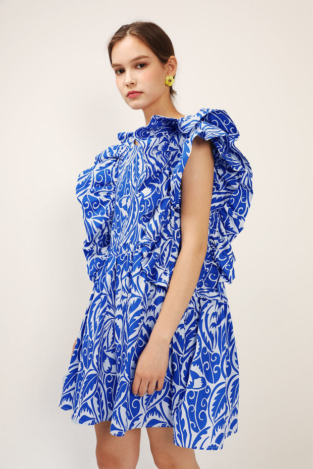 storets.com Elaina Printed Ruffle Dress