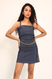 Charlie Contrast Stitch Denim Pinafore