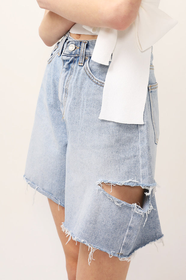 Maria Ripped Slash Denim Shorts