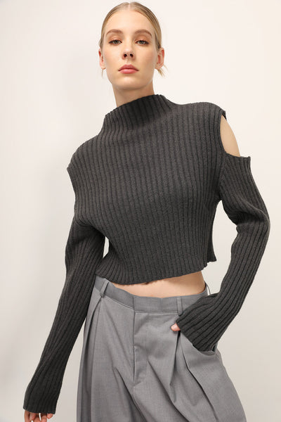 Frida Cutout Sleeve Ribbed Pullover