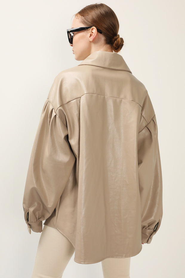Isla Puff Sleeve Pleather Shacket