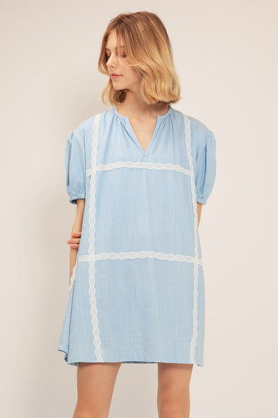 storets.com Alice Lace Trim Denim Dress