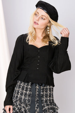 Louise Puffed Square Neck Blouse