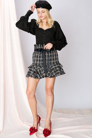 Anne Frilly Tweed Skirt-2 Colors