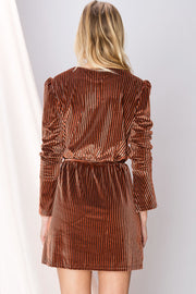 Francesca Striped Velvet Dress-2 Colors
