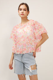 storets.com Lucia Textured Sheer Blouse
