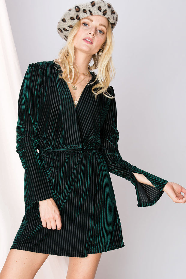 storets.com Francesca Striped Velvet Dress-2 Colors