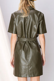 Maura Bow Pleather Dress