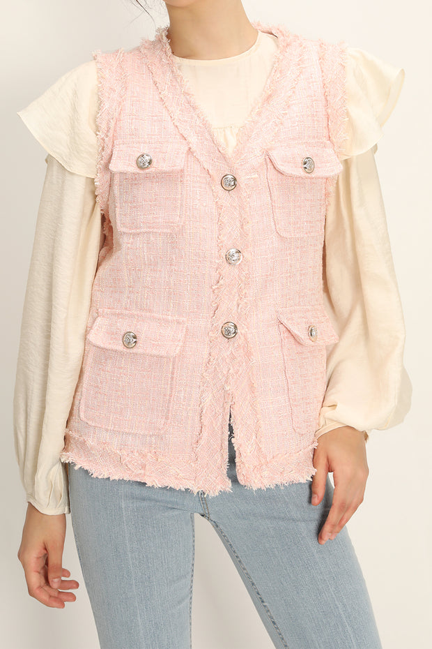storets.com Rosalee Tweed Sleeveless Jacket