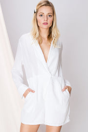 Mina Crossed V-Neck Romper-2 Colors