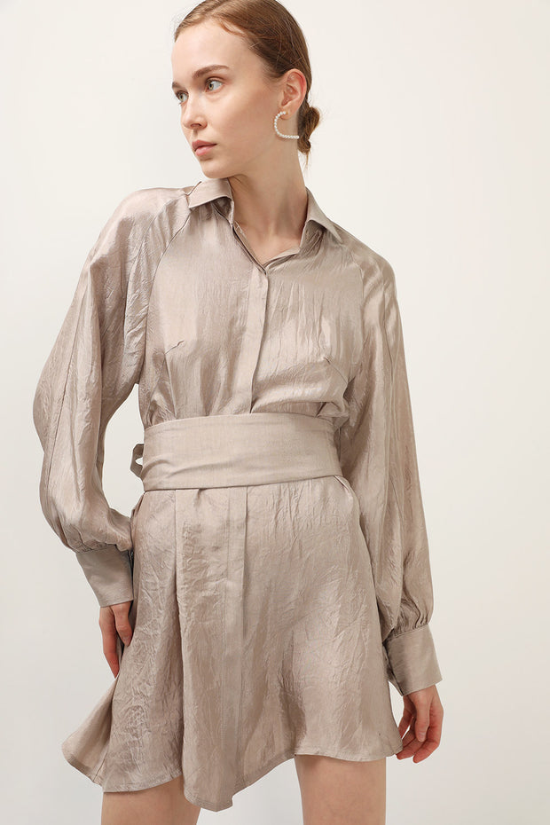storets.com Ariana Satin Belted Shirt Dress