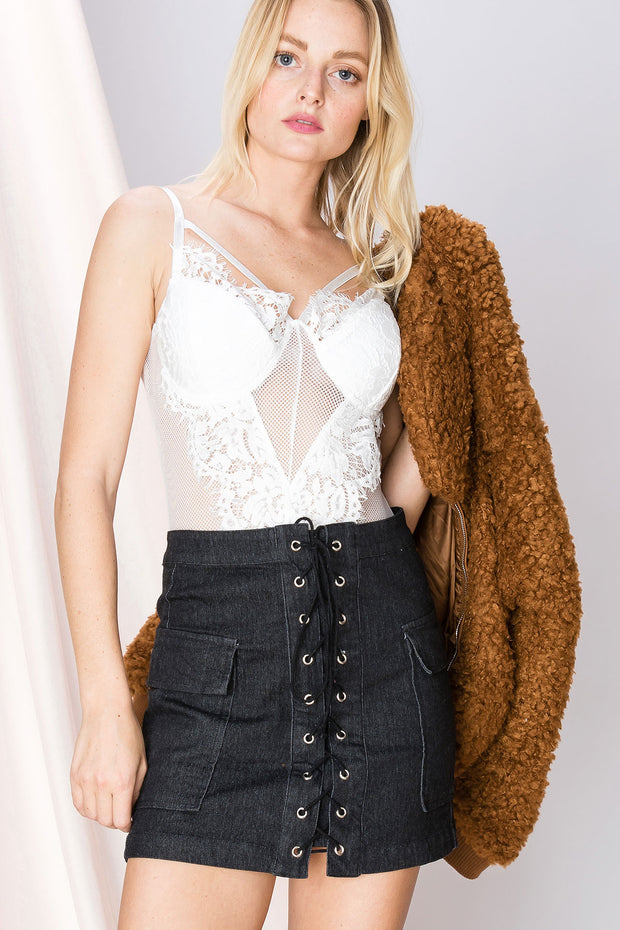 Audrey Lace Netted Bodysuit-2 Colors