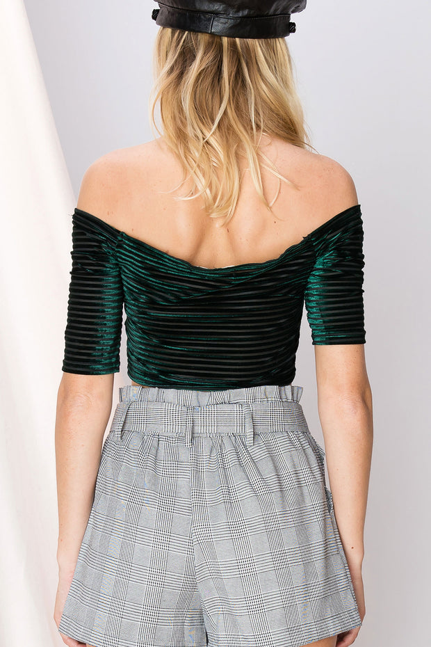 Minnie Striped Off The Shoulder Top-2 Colors
