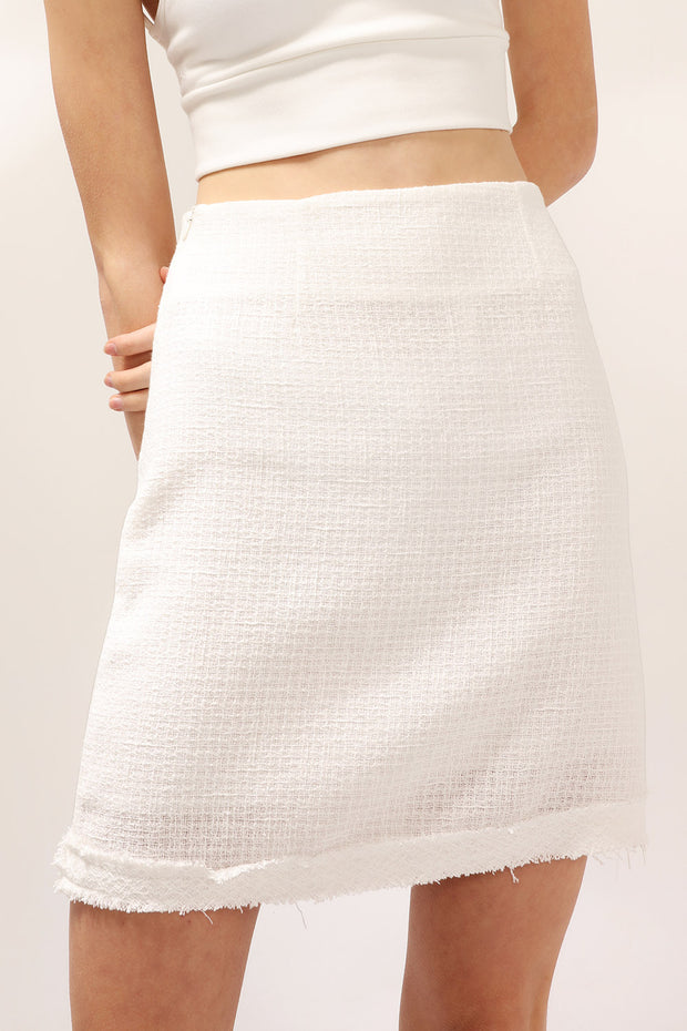 Victoria Frayed Tweed Skirt