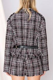 Helena Plaid Fringed Jacket