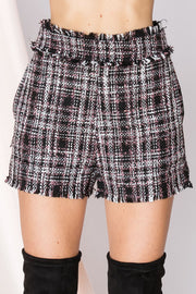 Helena Plaid Fringed Shorts