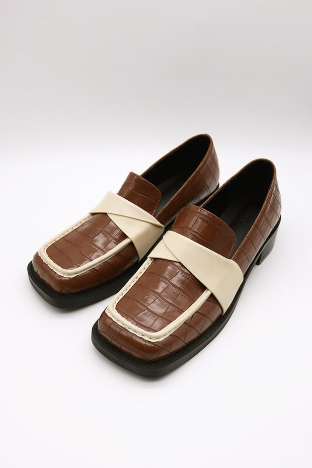 storets.com Croc Pleather Trim Loafers