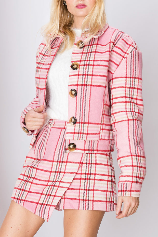Claire Plaid Buttoned Jacket