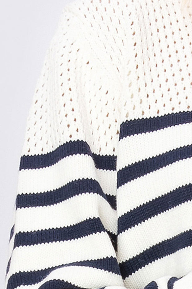 storets.com Kayla Striped Net Sweater
