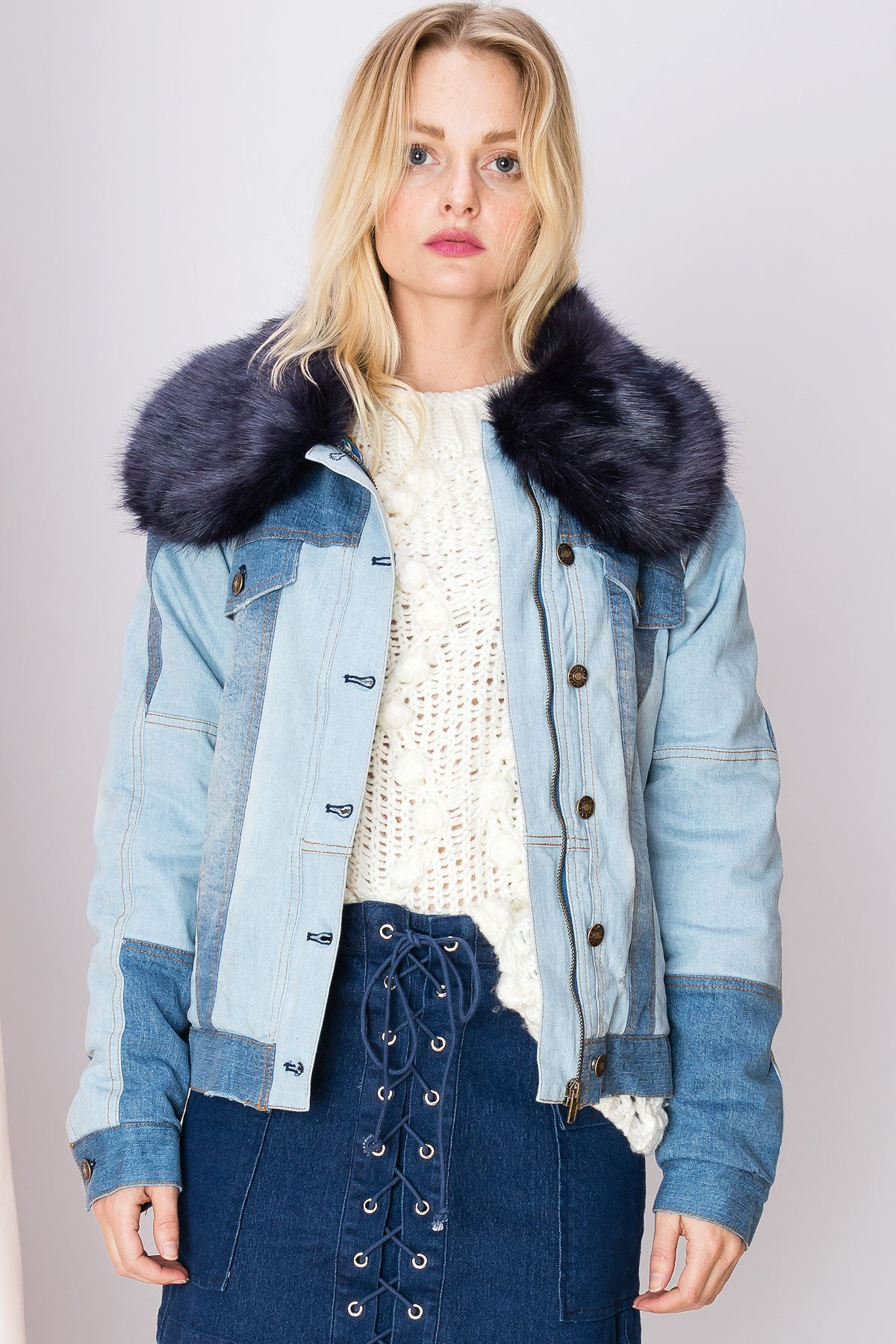 Mara Furry Two Tone Denim Jacket