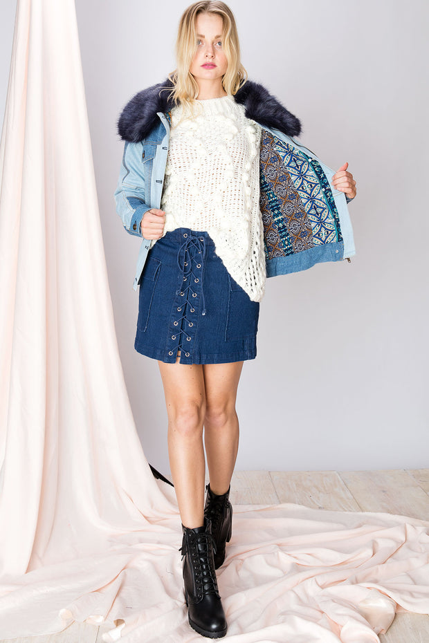 Tella Lace Up Stretch Denim Skirt-2 Colors