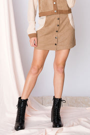 Frannie Suede Olive Skirt