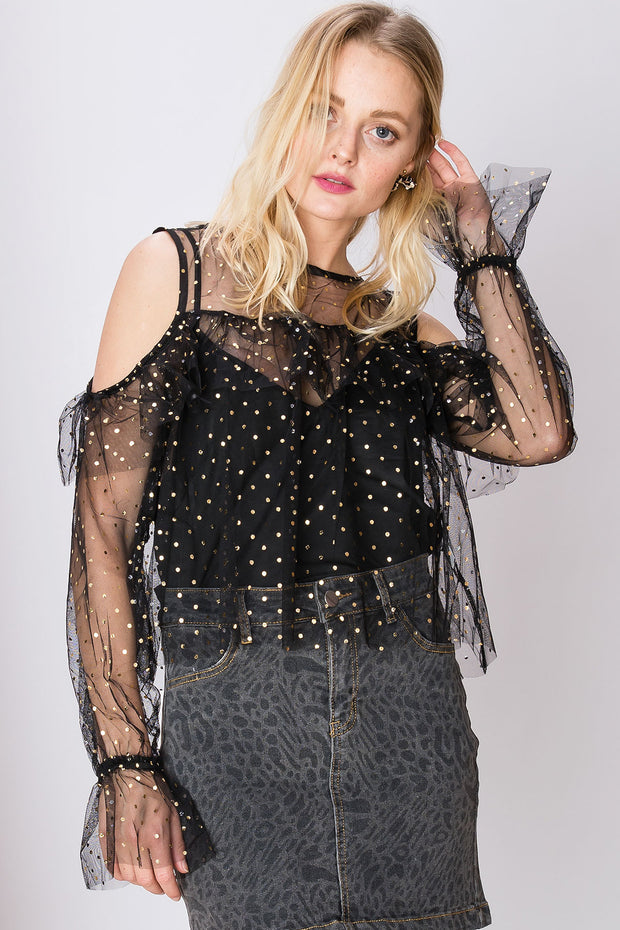 storets.com Kendra Sheer Starry Blouse-2 Colors