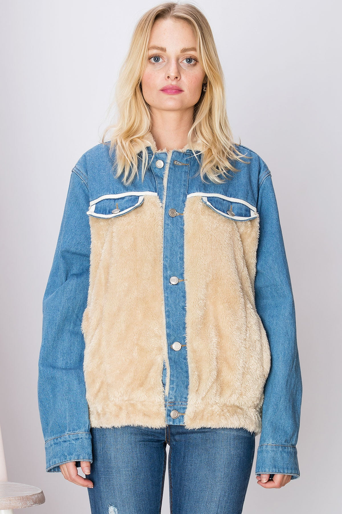 Melanie Furry Denim Jacket