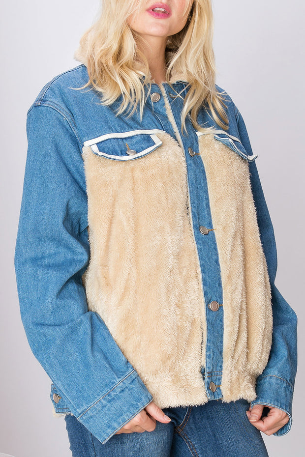 storets.com Melanie Furry Denim Jacket