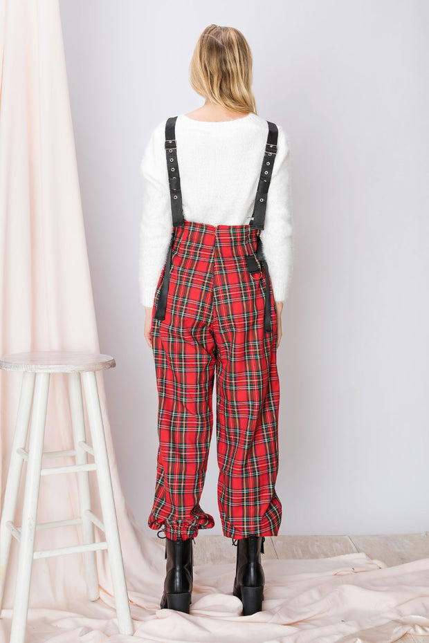 Chrissy Utility Plaid Overalls