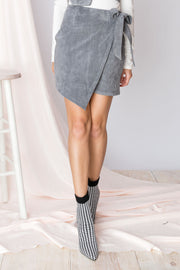 Marie Suede Wrap Skirt